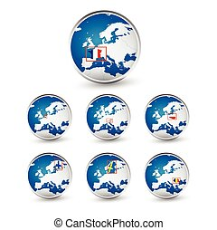 Globe set with EU countries World Map Location Part 3