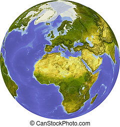 Globe, centered on Africa. Shaded relief colored according to dominant vegetation. Shows polar and pack ice, large urban areas. Isolated on white, with clipping path.