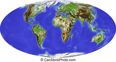 Globe, shaded relief