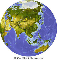 Globe, shaded relief map - Globe, centered on Asia. Shaded...