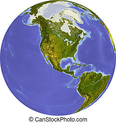 Globe, shaded relief map - Globe, centered on North America....