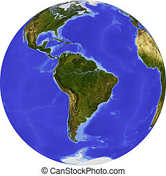 Globe, shaded relief - Globe, centered on South America....