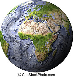 Globe, shaded relief with ocean floor - Globe, shaded relief...