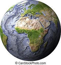 Globe, shaded relief with ocean floor