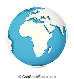 globe-shadow-gap - Natural Earth globe. 3D world map with...