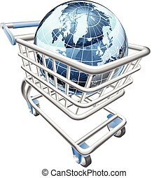 Globe shopping cart concept - Conceptual illustration. A...