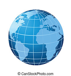 Globe showing Europe, Africa and Americas with Atlantic Ocean
