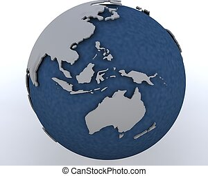 globe showing asia pacific region - 3D render of a globe...
