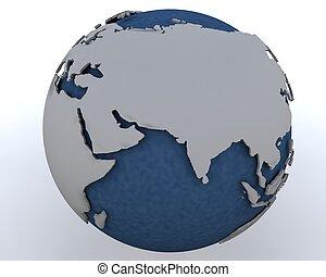 Globe showing middle east region - 3D render of a Globe...