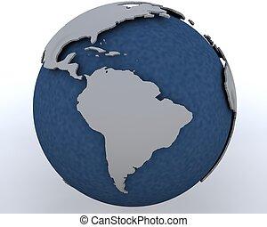 Globe showing south america region