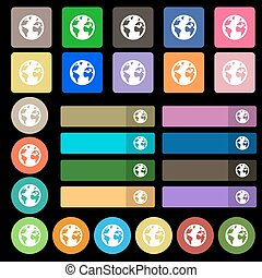 Globe sign icon. World map geography symbol. Globes on stand for studying. Set from twenty seven multicolored flat buttons. Vector