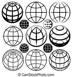 globe signs vector set
