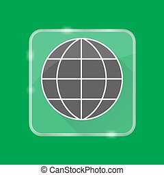 Globe silhouette icon in flat style on transparent button