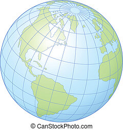 Globe - Simple graphic illustration of the globe showing...