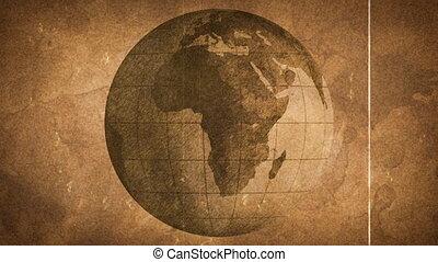 globe sketched on old paper grunge