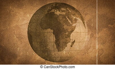 globe, sketched, op, oud, papier, grunge