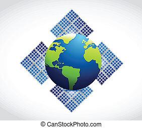 globe, solaire, illustration, panneau