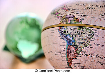 Globe (South America). A globe is photoed by close-up.