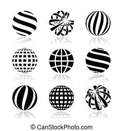 Globe sphere, earth vector icons