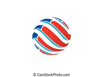 globe sphere swirl abstract technology vector logo