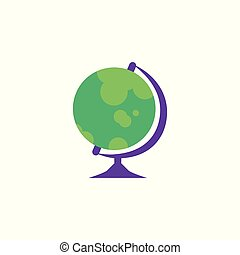 Globe - spherical model of Earth isolated on white background.