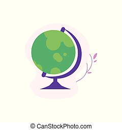 Globe spherical model of Earth isolated on white background with decoration.