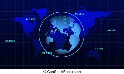 Digital animation of Globe spinning over numbers on world map against grid lines on blue background. Global networking and connection concept