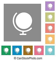 Globe square flat icons