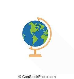 Globe stand icon, flat design