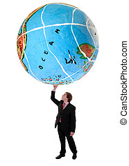 globe - young business man holding a globe with a hand