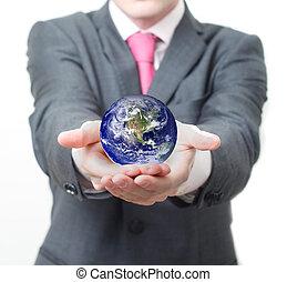 Globe - Businessman holding globe