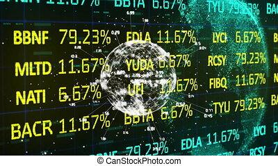 globe, stockage, traitement, données marché, contre