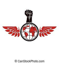 globe., stretto, condottiero, vettore, rivoluzione, composto, illustrazione, elevato, pugno, terra, anticonformista, ali, uccello, concept.