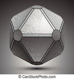 globe., stworzony, obiekt, metaliczny, wymiarowy, galwanizowany, geometryczny, figury, 3d