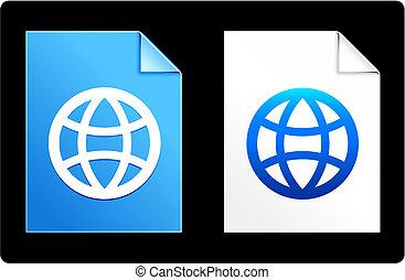 globe, sur, papier, ensemble