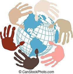 Globe surrounded by hands - Illustration a blue globe...
