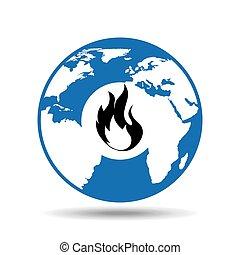 globe symbol icon fire design