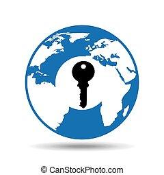 globe symbol icon key safety design
