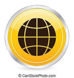 globe symbol yellow circle icon