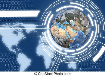 globe, système, communications, conception, la terre,...