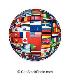globe., szöveg, kreatív, zászlók, ikon, design.