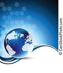 globe, technologie, fond