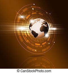 globe, technologie, interface