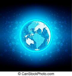 globe, technologie, résumé, réseau