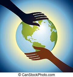 globe, tenir mains