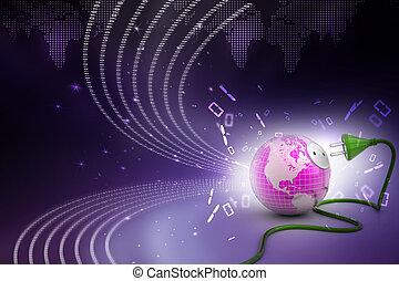 globe terre, à, cable électrique