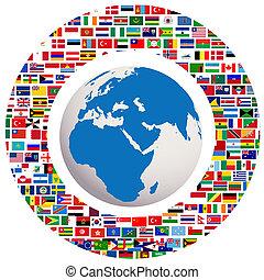 globe terre, à, tout, drapeaux