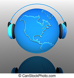 globe terre, écouteurs, musique
