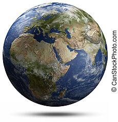 globe terre, -, afrique, europe, et, asie