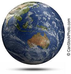 globe terre, australie, -, océanie